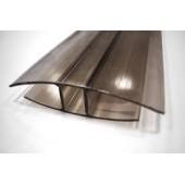 Профиль соединительный неразъемный для поликарбоната Н 8мм*6м. бронза серый