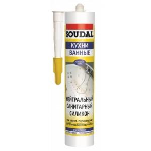 Герметик силиконовый санитарный нейтральный Soudal белый, 300 мл